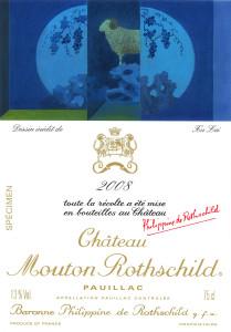 Etiquette Mouton Rothschild 2008 specimen MD
